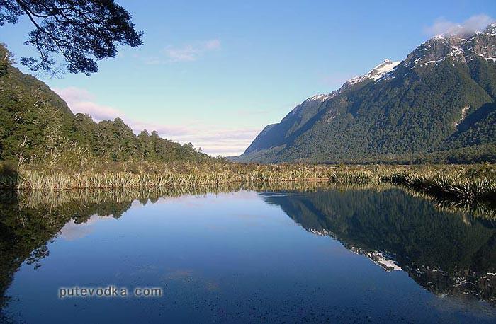 Новая Зеландия. Остров Южный. Озеро «Зеркальное».