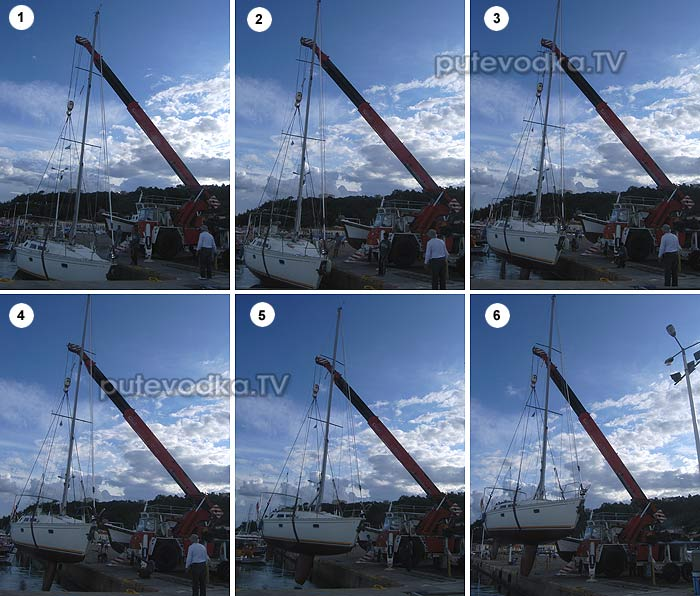 Подъём яхты краном (Катаколо)