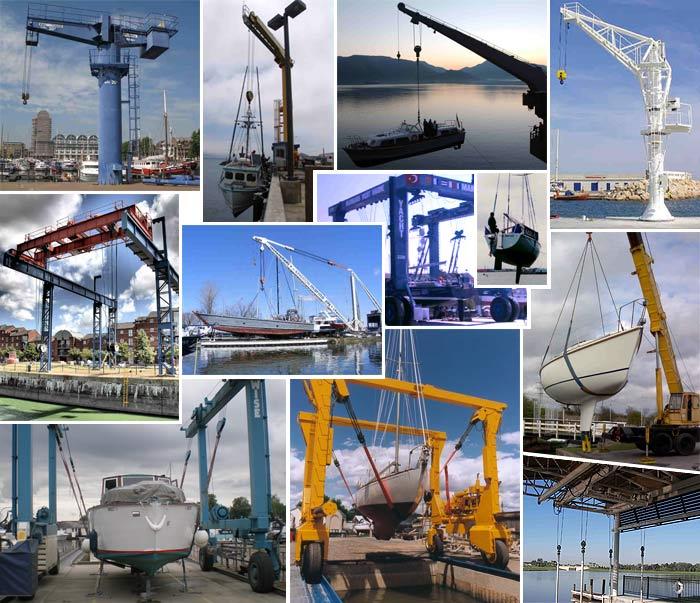 Подъём яхт различными механизмами