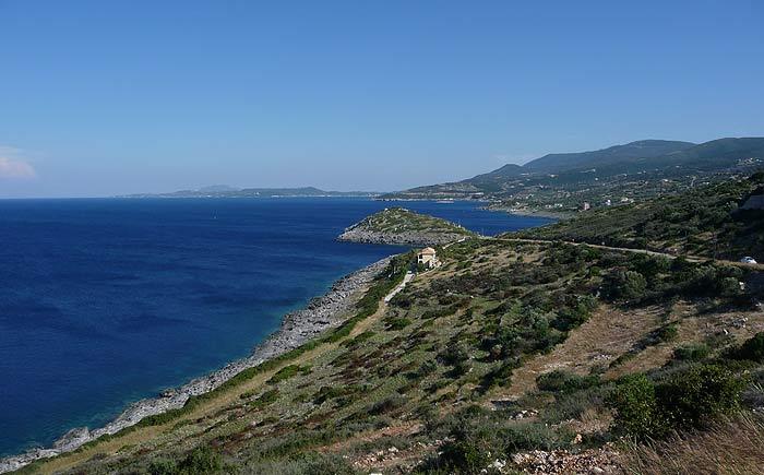 Северная оконечность острова Закинтос (Zakinthos). Взгляд на юг.