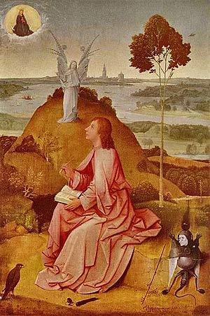 «Святой Иоанн на Патмосе». Иероним Босх. 1504-1505 Доска (лицевая часть), масло. 63×43,3 см Берлинская картинная галерея.