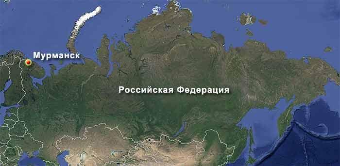 Мурманск на карте Российской