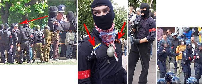 Одесса. Массовое убийство 2 мая 2014 года. Провокаторы с красными повязками на рукаве.