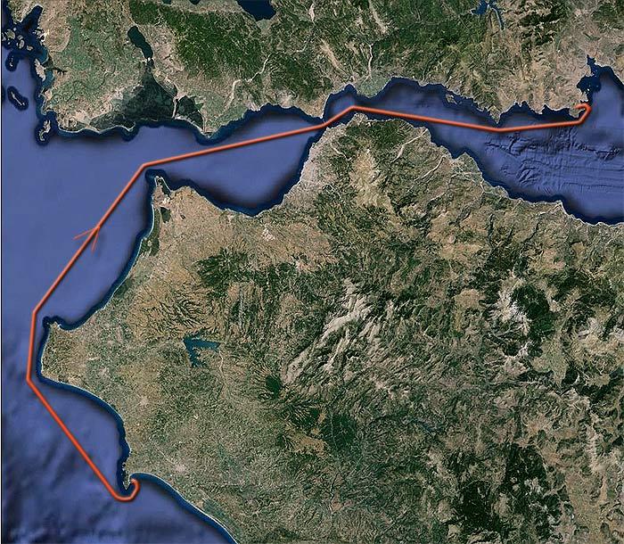 Яхта «Пепелац». Судовой журнал. Карта маршрута Катаколо— Галаксиди.