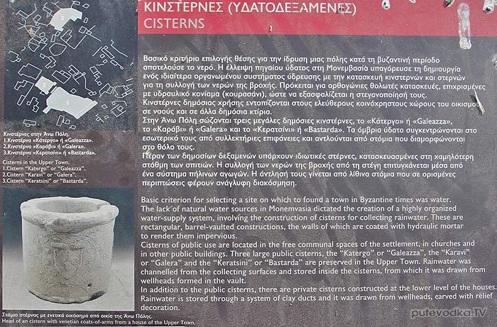 Греция. Пелопоннес. Монемвасия. Верхний город. Цистерна.